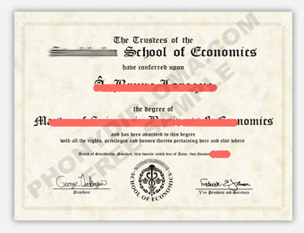 Stockholm School of Economics - Fake Diploma Sample from Sweden
